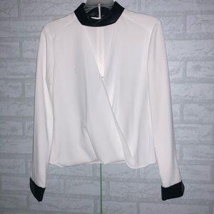 INTERMIX White Leather Collar Wrap Blouse sz P B0